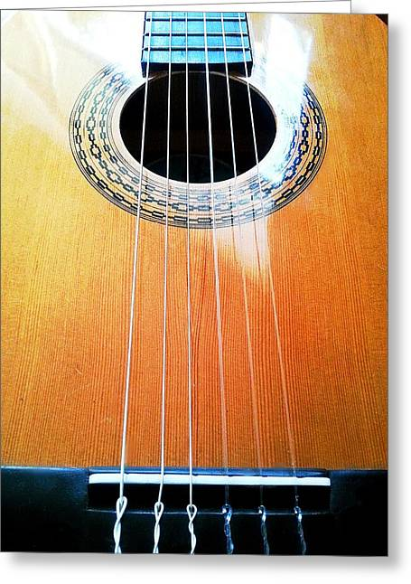 Noise . Sounds Photographs Greeting Cards - Guitar in the Light Greeting Card by I F Abbie Shores