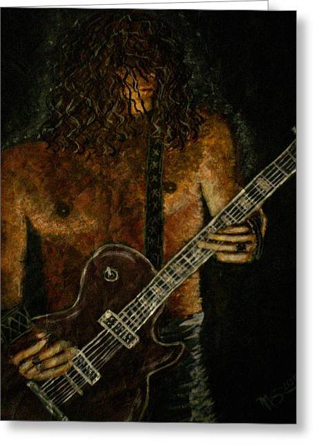 Bands On Stage Paintings Greeting Cards - Guitar In the Zone Greeting Card by Absinthe Art By Michelle LeAnn Scott