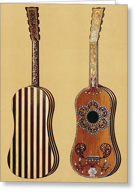 Pattern Drawings Greeting Cards - Guitar Inlaid With Mother-of-pearl Greeting Card by Alfred James Hipkins
