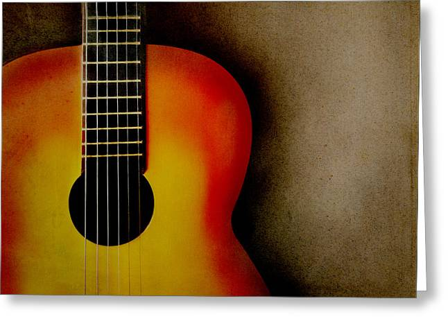 Melody Pyrography Greeting Cards - Guitar Greeting Card by Jelena Jovanovic