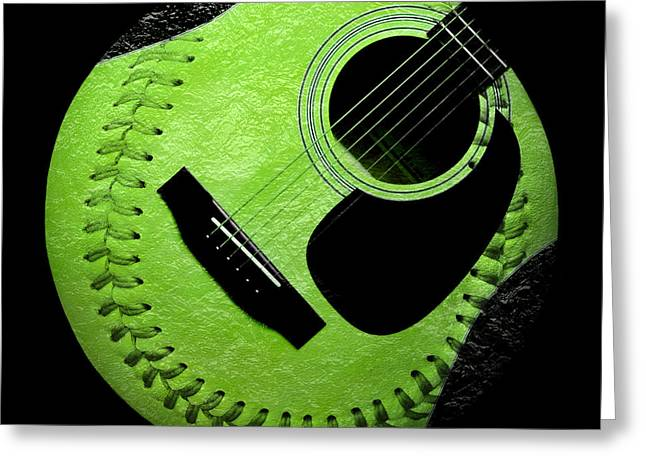 Baseball Art Digital Art Greeting Cards - Guitar Keylime Baseball Square  Greeting Card by Andee Design