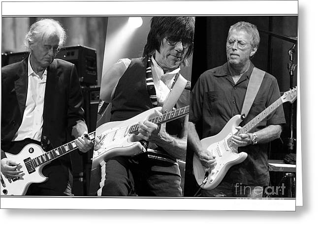 Jeff Mixed Media Greeting Cards - Guitar Legends Jimmy Page Jeff Beck and Eric Clapton Greeting Card by Marvin Blaine