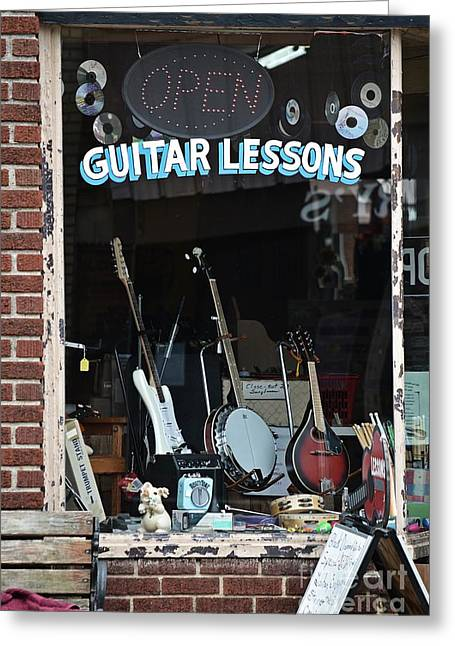 Guitar Lessons Small Town Greeting Card by JW Hanley