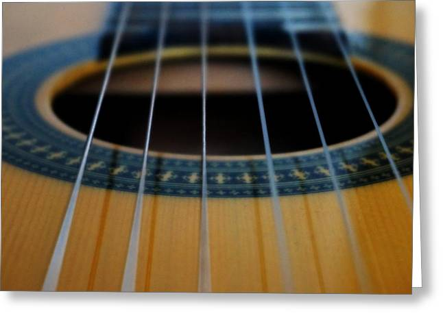 Guitar Stings Greeting Cards - Guitar Macro Greeting Card by Laurie Pike