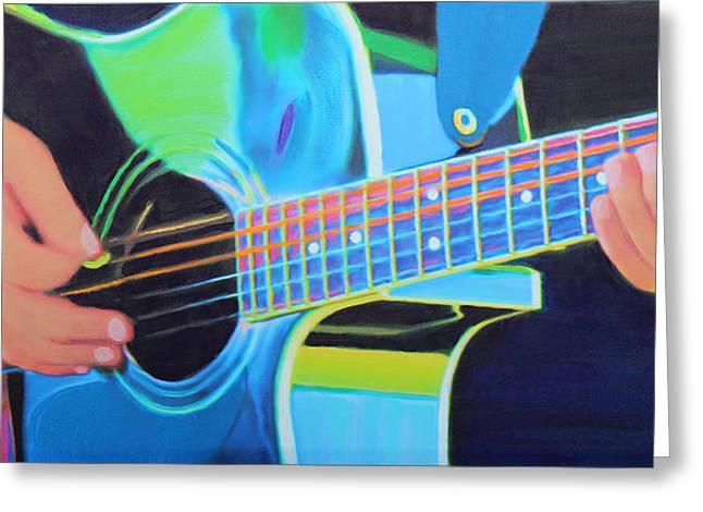 Playing Musical Instruments Greeting Cards - Guitar Man Greeting Card by Deborah Boyd