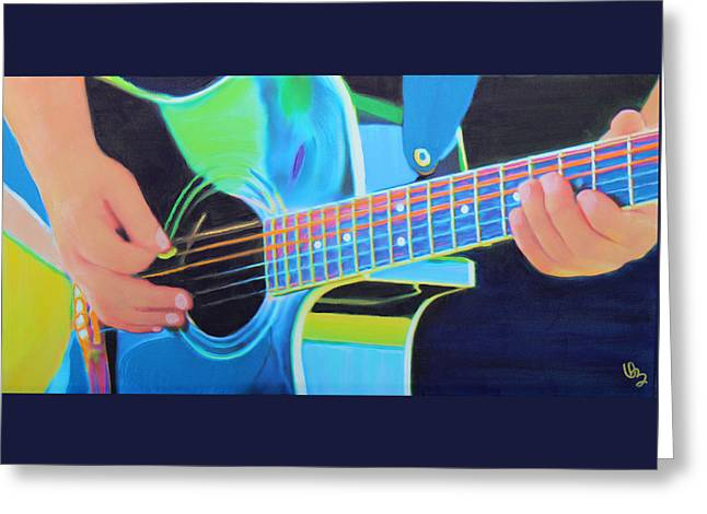 Playing Musical Instruments Mixed Media Greeting Cards - Guitar Man Greeting Card by Deborah Boyd