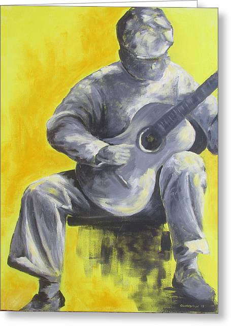 Guitar Man In Shades Of Grey Greeting Card by Susan Richardson