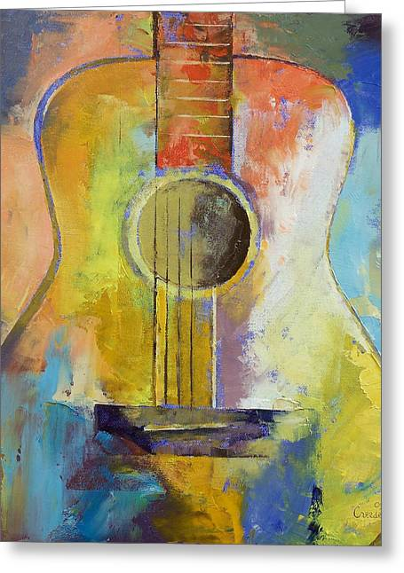 Cubism Greeting Cards - Guitar Melodies Greeting Card by Michael Creese