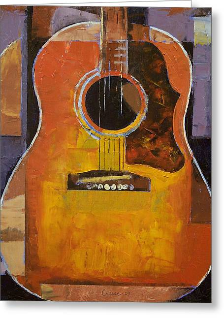 Guitar Greeting Card by Michael Creese