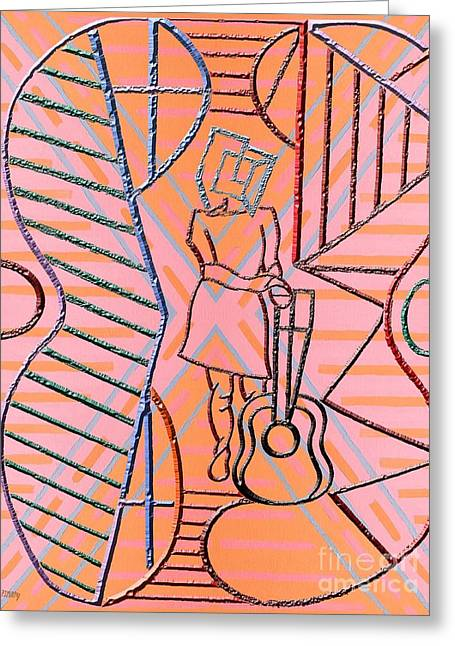 T Shirts Mixed Media Greeting Cards - Guitar Mood Greeting Card by Patrick J Murphy