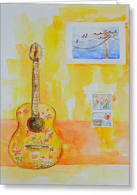 Delicate Drawings Greeting Cards - Guitar of a Flower Girl in Love Greeting Card by Patricia Awapara