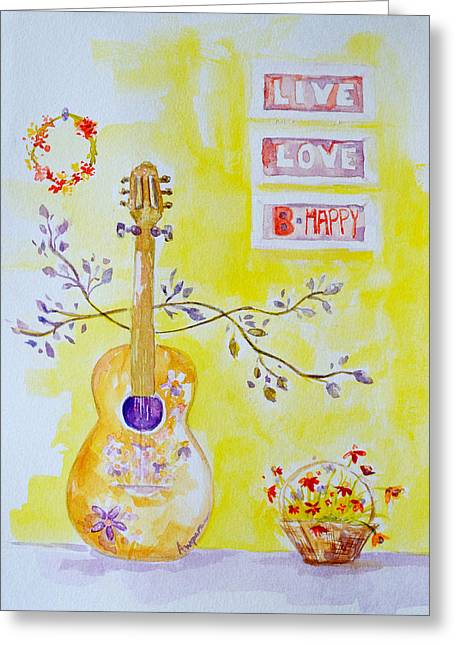 Bright Drawings Greeting Cards - Guitar of a Flower Girl Live Love Be Happy Greeting Card by Patricia Awapara