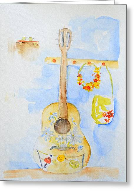 Delicate Drawings Greeting Cards - Guitar of a Flower Girl Greeting Card by Patricia Awapara