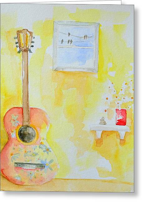 Delicate Drawings Greeting Cards - Guitar of a Flower Girl with a touch of Zen Greeting Card by Patricia Awapara