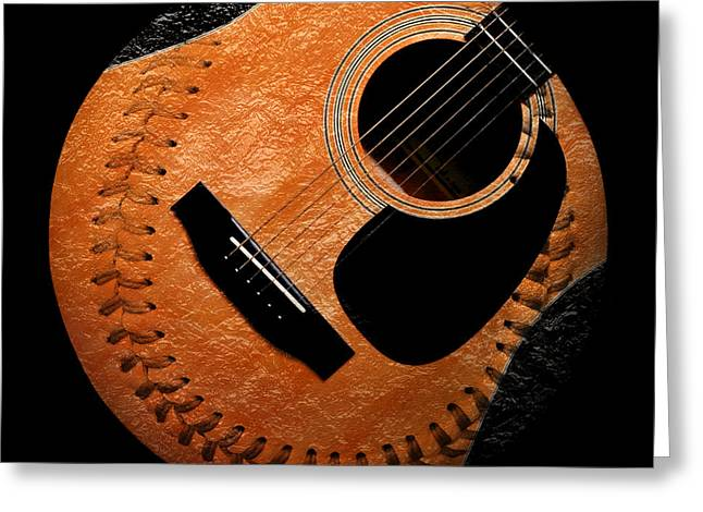 Baseball Art Digital Art Greeting Cards - Guitar Orange Baseball Square Greeting Card by Andee Design