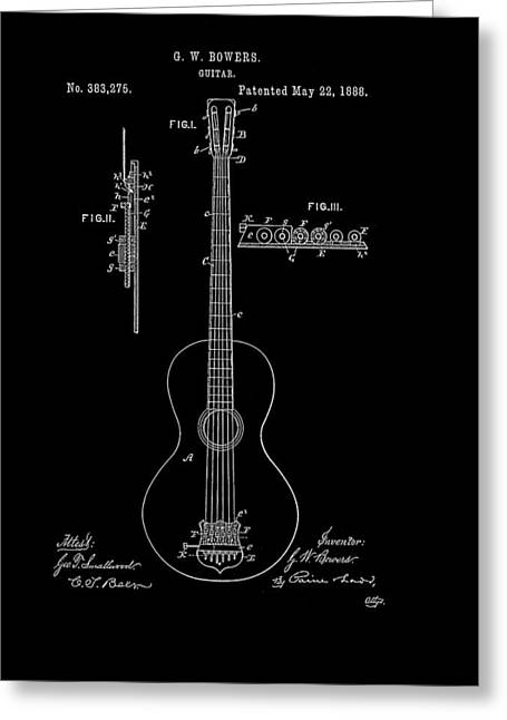 1880s Drawings Greeting Cards - Guitar Patent 1888 Greeting Card by Mountain Dreams