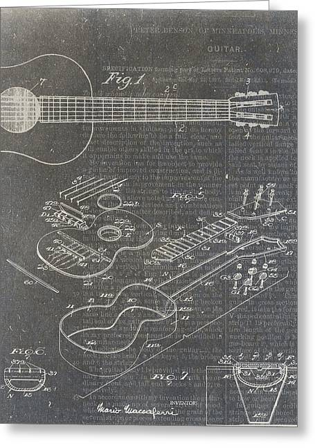 Taylor Guitar Greeting Cards - Guitar Patent Greeting Card by Nick Pappas
