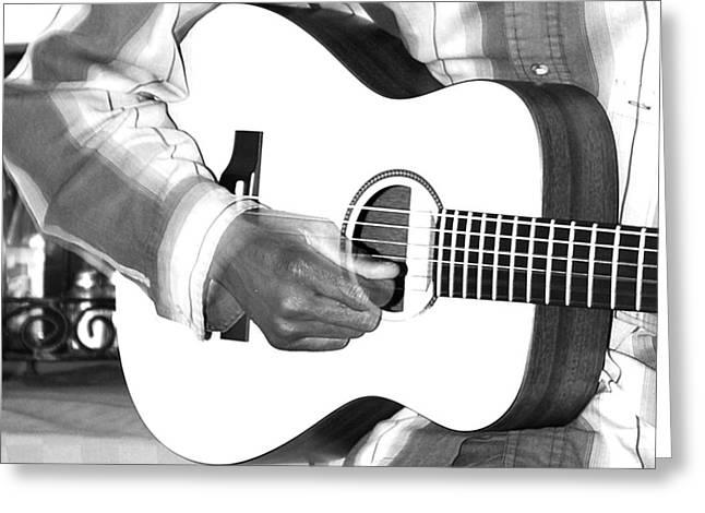 Humane Greeting Cards - Guitar Player Greeting Card by Aidan Moran