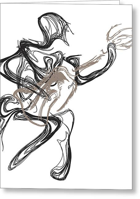 Pen And Ink Drawing Digital Art Greeting Cards - Guitar Player Greeting Card by Michael Lee