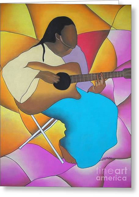 African-american Pastels Greeting Cards - Guitar Player Greeting Card by Sonya Walker