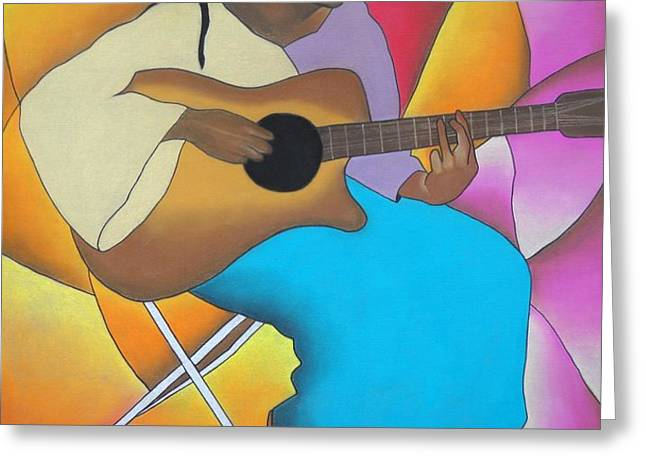 Guitar Player Greeting Card by Sonya Walker
