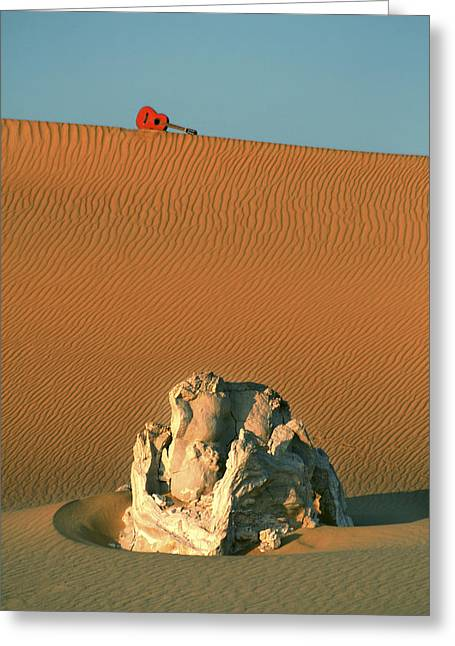 Desert Pyrography Greeting Cards - Guitar Rock Greeting Card by Ik Henkle