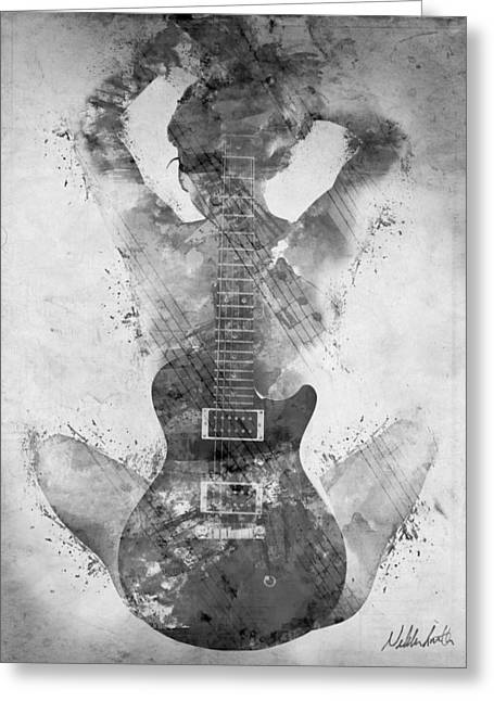 Rock And Roll Music Greeting Cards - Guitar Siren in Black and White Greeting Card by Nikki Smith