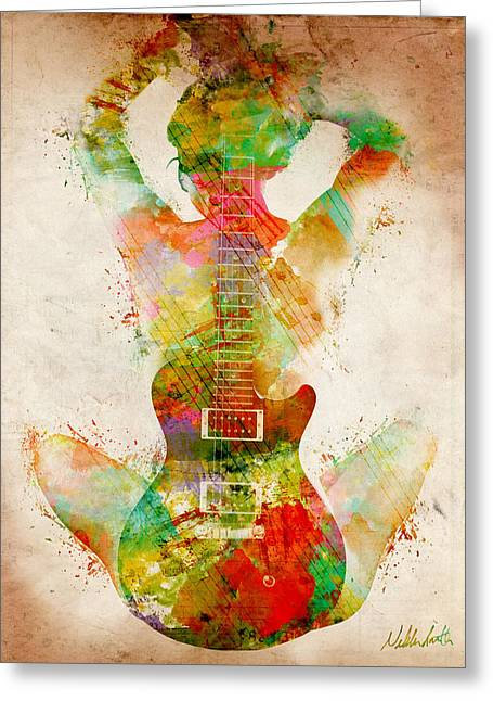 Curved Greeting Cards - Guitar Siren Greeting Card by Nikki Smith