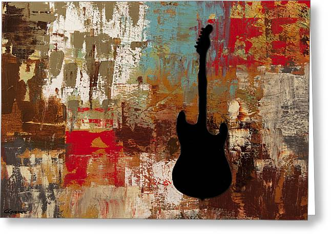 Cello Greeting Cards - Guitar Solo Greeting Card by Carmen Guedez