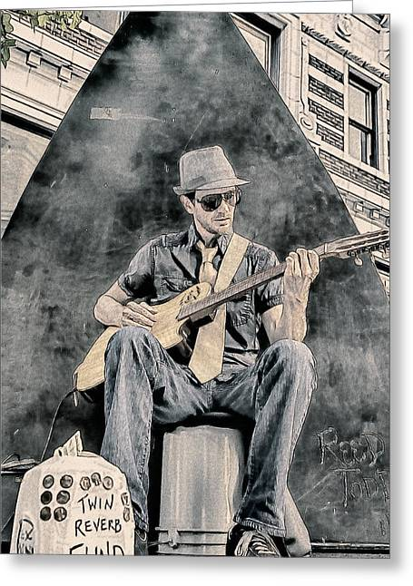 Small Towns Drawings Greeting Cards - Guitar Solo Greeting Card by John Haldane
