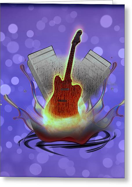 """fret Board"" Greeting Cards - Guitar Splash Greeting Card by Becca Buecher"