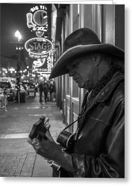 Nashville Tennessee Greeting Cards - Guitar Street Performer in Nashville  Greeting Card by John McGraw