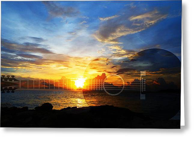 Strumming Greeting Cards - Guitar Sunset - Guitars by Sharon Cummings Greeting Card by Sharon Cummings
