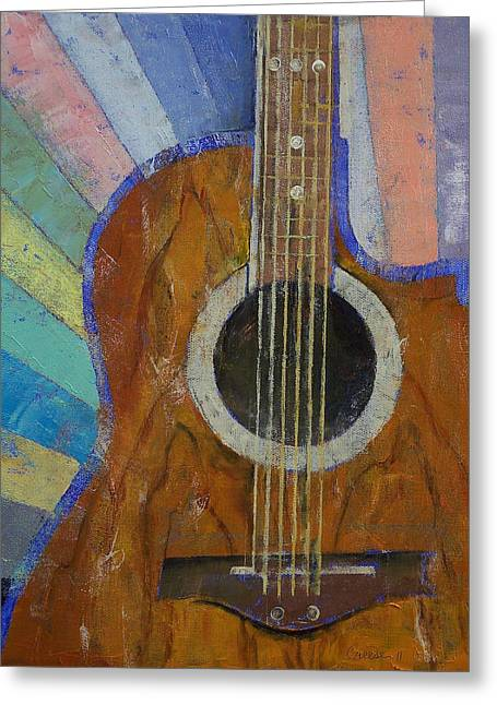 Graphics Paintings Greeting Cards - Guitar Sunshine Greeting Card by Michael Creese