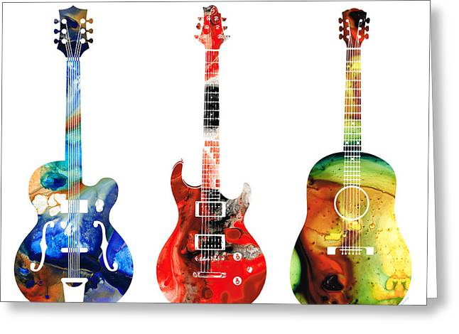 Player Greeting Cards - Guitar Threesome - Colorful Guitars By Sharon Cummings Greeting Card by Sharon Cummings