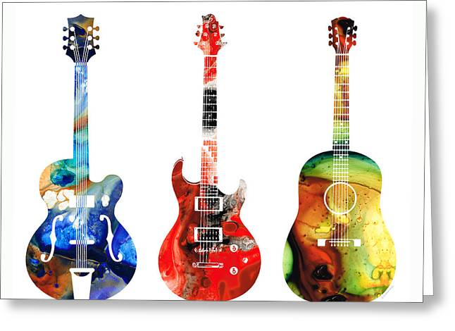 Sharon Cummings Greeting Cards - Guitar Threesome - Colorful Guitars By Sharon Cummings Greeting Card by Sharon Cummings