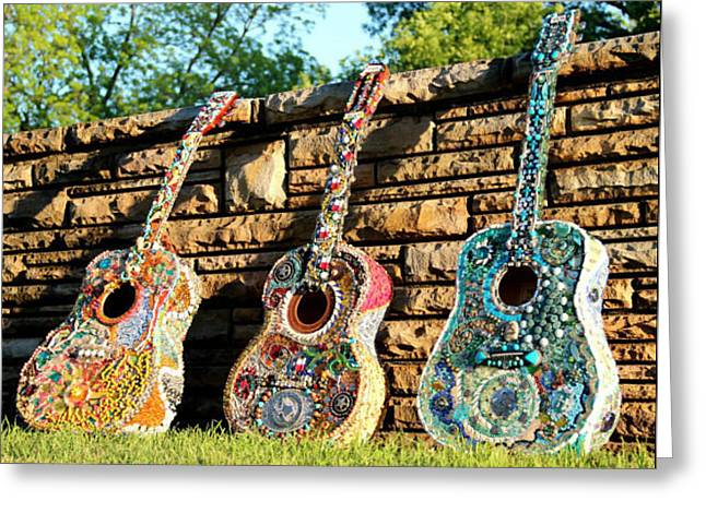 Rock Concerts Glass Greeting Cards - Guitar Trifecta Greeting Card by Lisa Anderson