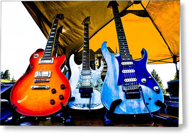 The Fabulous Kingpins Greeting Cards - Guitar Trio Greeting Card by David Patterson