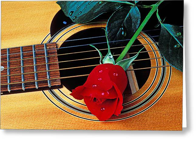 Dew Greeting Cards - Guitar with single red rose Greeting Card by Garry Gay