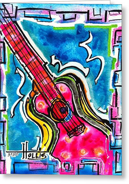 Fauvist Style Greeting Cards - Guitare Rose Chaud Greeting Card by Gayla Abel Hollis