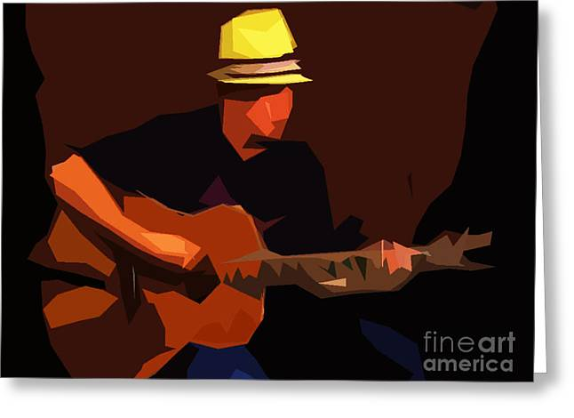 Guitare Greeting Cards - Guitarist Greeting Card by Soumya Bouchachi