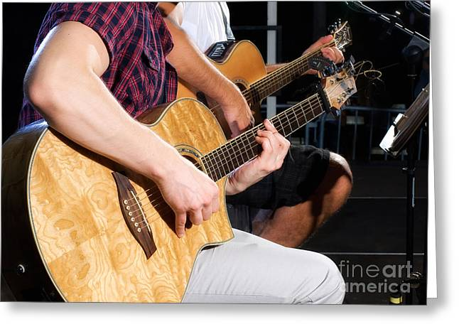 Rock Concerts Greeting Cards - Guitarists Greeting Card by Sinisa Botas