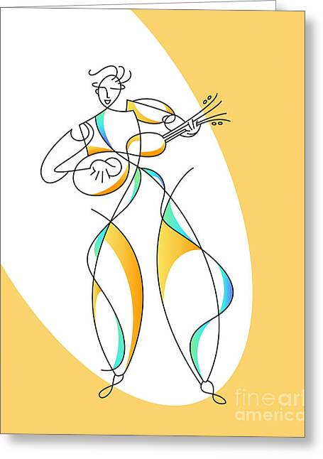 Guitar Player Drawings Greeting Cards - Guitarrista Greeting Card by Ruth Borges