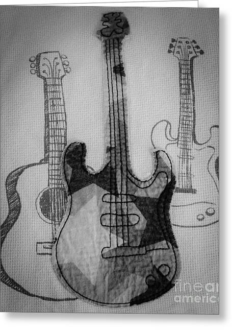 Playing Musical Instruments Mixed Media Greeting Cards - Guitars Greeting Card by Andrea Anderegg