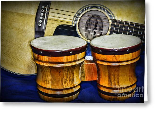 """six String"" Greeting Cards - Guitars Bongos and Beatniks Greeting Card by Paul Ward"