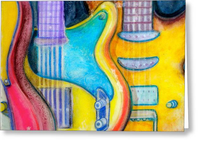 Knob Mixed Media Greeting Cards - Guitars Greeting Card by Debi Starr