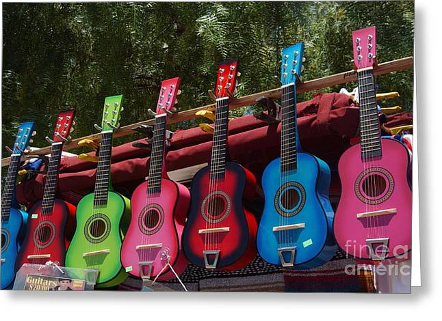 Mexican Culture Greeting Cards - Guitars in Old Town San Diego Greeting Card by Anna Lisa Yoder