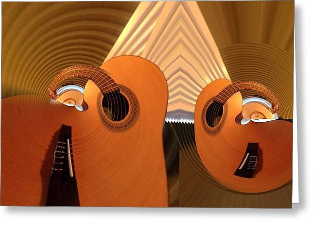 Wood Instruments Greeting Cards - Guitars With Pyramid Greeting Card by Ron Bissett