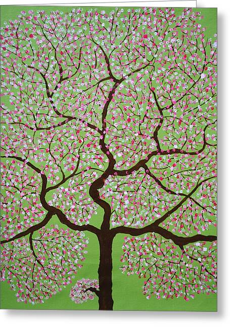 Pink Flower Branch Paintings Greeting Cards - Gulbhargava Greeting Card by Sumit Mehndiratta