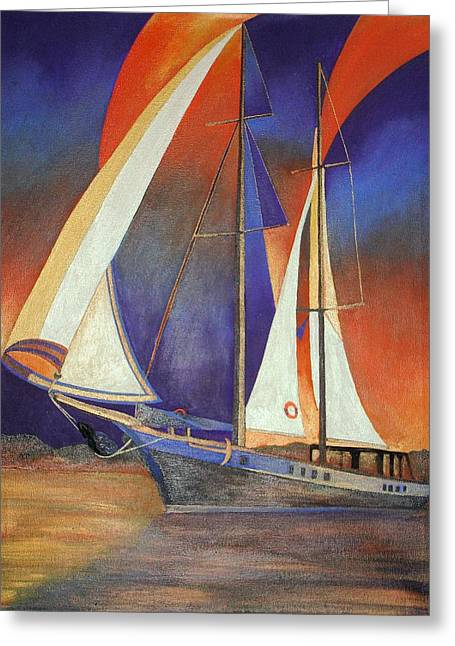 Tracey Harrington-simpson Greeting Cards - Gulet Under Sail Greeting Card by Tracey Harrington-Simpson